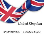 waving ribbon or banner with... | Shutterstock .eps vector #1802275120