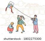 children in traditional korean ... | Shutterstock .eps vector #1802275300