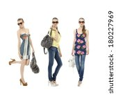three young girl in jeans in... | Shutterstock . vector #180227969