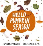 vector set of autumn icons with ... | Shutterstock .eps vector #1802281576