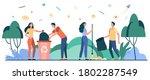 team of volunteers cleaning...   Shutterstock .eps vector #1802287549