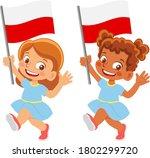 poland flag in hand. children... | Shutterstock .eps vector #1802299720