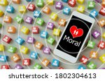 smart phone with heart and... | Shutterstock . vector #1802304613