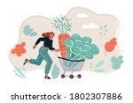 cartoon of young happy woman... | Shutterstock .eps vector #1802307886