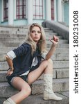 blonde woman model posing and... | Shutterstock . vector #180231008