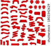 red ribbon set isolated white...   Shutterstock .eps vector #1802342629