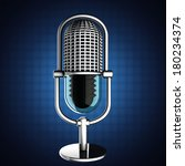 retro microphone on blue... | Shutterstock . vector #180234374