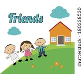 friends kids design over blue... | Shutterstock .eps vector #180238520