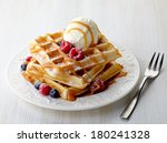 Plate Of Belgian Waffles With...