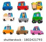 cute animals in funny cars....   Shutterstock . vector #1802421793