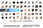 vector of 50 education and... | Shutterstock .eps vector #1802427799