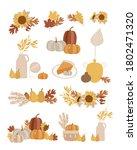 big set of hand drawn autumn...   Shutterstock .eps vector #1802471320