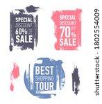 grunge modern sale stickers.... | Shutterstock . vector #1802554009
