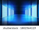 glowing screens in an empty... | Shutterstock .eps vector #1802564119