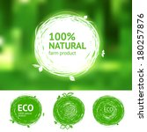 vector eco labels with sketch... | Shutterstock .eps vector #180257876