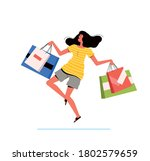 young shopping woman holds...   Shutterstock .eps vector #1802579659