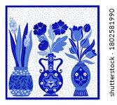 vector illustration with vases...   Shutterstock .eps vector #1802581990