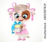 little cow girl in pink dress...   Shutterstock .eps vector #1802587819