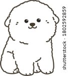 outlined white bichon frise...   Shutterstock .eps vector #1802592859