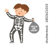 boy dressed like a skeleton.... | Shutterstock .eps vector #1802621023