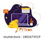 python code language sign....   Shutterstock .eps vector #1802674519