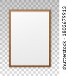 mockup wood frame photo on wall.... | Shutterstock .eps vector #1802679913