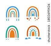 childish hand drawn rainbows.... | Shutterstock .eps vector #1802695426