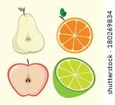 half fruits design over white ... | Shutterstock .eps vector #180269834