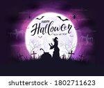 happy halloween theme with... | Shutterstock .eps vector #1802711623