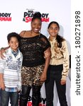 "Small photo of LOS ANGELES - MAR 5: Kaleb Jackson, Shar Jackson, Kori Jackson at the ""Mr.Peabody and Sherman"" Premiere at Village Theater on March 5, 2014 in Westwood, CA"