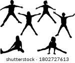 silhouettes of children in... | Shutterstock . vector #1802727613