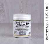 Small photo of Kamyanets-Podilskyi, Ukraine - August 25, 2020: California Gold Nutrition, CollagenUP, Marine Hydrolyzed Collagen + Hyaluronic Acid + Vitamin C, Unflavored, 7.26 oz (206 g)