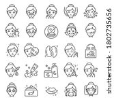 facial skin care  icon set. the ... | Shutterstock .eps vector #1802735656
