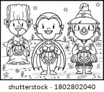 coloring book page for... | Shutterstock .eps vector #1802802040