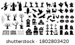 very large set of black vector... | Shutterstock .eps vector #1802803420