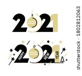 new year emblem 2021 number... | Shutterstock .eps vector #1802812063