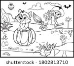 coloring book page for... | Shutterstock .eps vector #1802813710