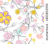 pink flowers blooming pattern.... | Shutterstock .eps vector #1802823550