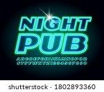 Vector Neon Glowing Sign Night...