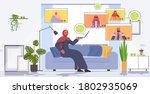arab woman having virtual... | Shutterstock .eps vector #1802935069