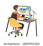 woman freelance graphic... | Shutterstock .eps vector #1802942203