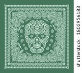 bandana pattern with skull and ... | Shutterstock .eps vector #1802956183