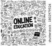 online education doodle icons... | Shutterstock .eps vector #1802979526