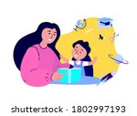 happy family together prepare... | Shutterstock .eps vector #1802997193