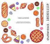 bakery and bread vector frame.... | Shutterstock .eps vector #1803011119