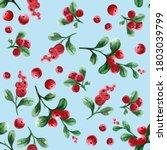 lingonberry. seamless pattern...   Shutterstock . vector #1803039799