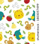 Vector Seamless Pattern Of Cute ...