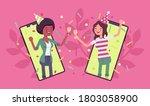 happy girls hosting online... | Shutterstock .eps vector #1803058900