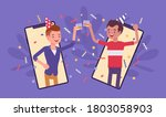 happy boys hosting online party ... | Shutterstock .eps vector #1803058903