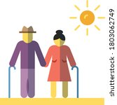 old age couple vector color... | Shutterstock .eps vector #1803062749